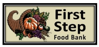 A logo for the First Step Food Bank.